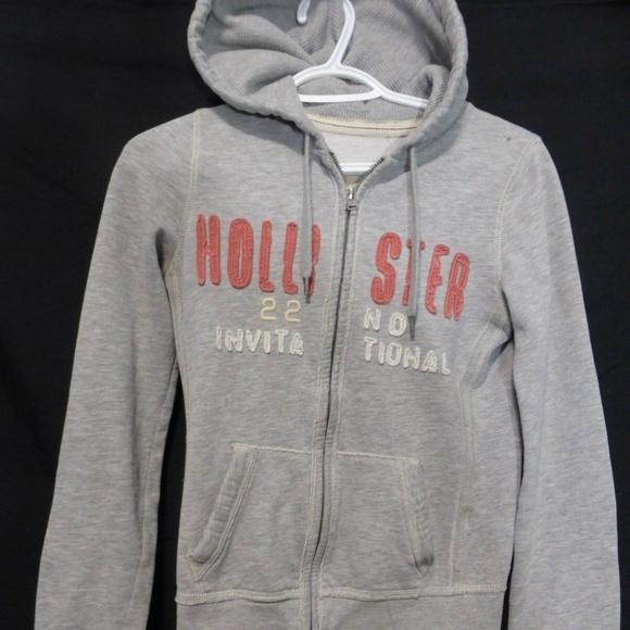 Hollister, hooded sweatshirt, small, s, grey zip